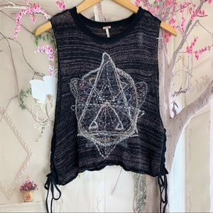 Free People Embroidered Star Crop sleeveless top